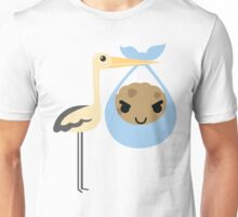 Stork with Baby Cookie Emoji Naughty and Cheeky Look Unisex T-Shirt