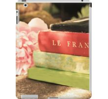 Black Green Red Vintage French Books and Pink Flower iPad Case/Skin