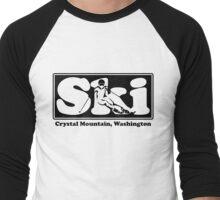 Crystal Mountain, Washington SKI Graphic for Skiing your favorite mountain, city or resort town Men's Baseball ¾ T-Shirt