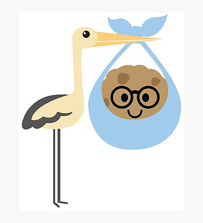 Stork with Baby Cookie Emoji Nerd Glasses Face Photographic Print