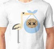 Stork with Baby Cookie Emoji Faint and Knock Out Face Unisex T-Shirt