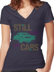 Still plays with cars (3) Women's Fitted V-Neck T-Shirt