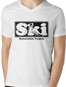 Massanutten, Virginia  SKI Graphic for Skiing your favorite mountain, city or resort town Mens V-Neck T-Shirt