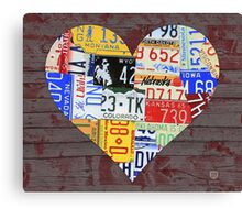 Heart of America Recycled License Plate Art Canvas Print