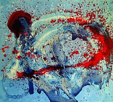 LIBERATION Original Abstract Artwork Red White Blue by 7RayedDesigns