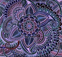 Blue and Pink Henna Style  by Dwyanna  Stoltzfus