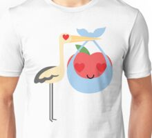 Stork with Baby Apple Emoji Heart and Love Eye Unisex T-Shirt