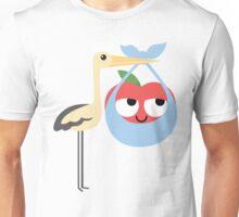 Stork with Baby Apple Emoji Think Hard and Hmm Unisex T-Shirt