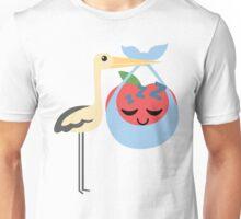 Stork with Baby Apple Emoji Tired and Sleep Unisex T-Shirt