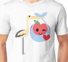 Stork with Baby Apple Emoji Flirt and Blow Kiss Unisex T-Shirt