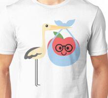 Stork with Baby Apple Emoji Nerd Spectacles Look Unisex T-Shirt