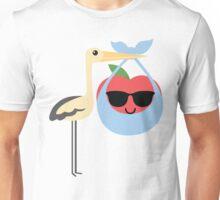 Stork with Baby Apple Emoji Cool Sunglasses Unisex T-Shirt