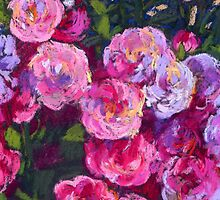 A bush of small pink roses by kira-culufin