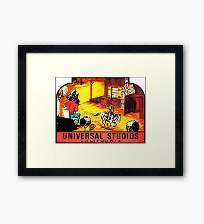 Universal Studios California Vintage Travel Decal Framed Print