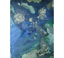 Modern abstract seascape painting Drift in Blue Green and Gray Photographic Print