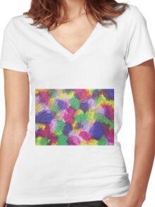 """""""Rosebud"""" original artwork by Laura Tozer Women's Fitted V-Neck T-Shirt"""