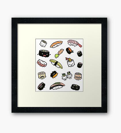 Sushi Characters Pattern Framed Print