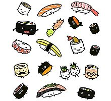 Sushi Characters Pattern Photographic Print