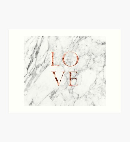 Rose gold marble LOVE Art Print