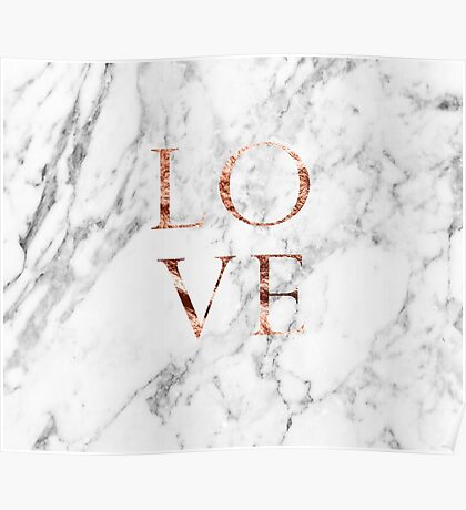 Rose gold marble LOVE Poster