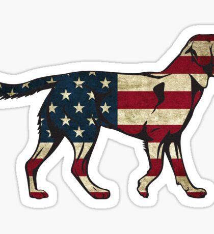 American Flag Dog Sticker Sticker