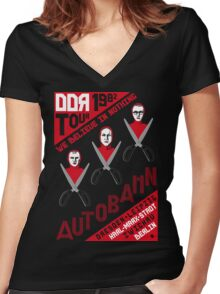 Autobahn 1982 East German Tour T-Shirt Women's Fitted V-Neck T-Shirt