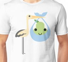 Stork with Baby Pear Emoji Cheerful Smiling Face Unisex T-Shirt
