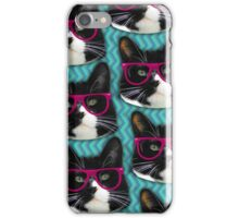 Hipster Glasses Kitty Pattern  iPhone Case/Skin