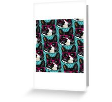 Hipster Glasses Kitty Pattern  Greeting Card
