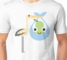 Stork with Baby Pear Emoji Happy and Eager Face Unisex T-Shirt