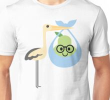 Stork with Baby Pear Emoji Nerd Noob Spectacles Unisex T-Shirt