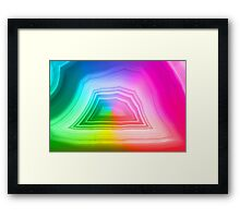 Fancy radiant rainbow colors agate slice mineral Framed Print