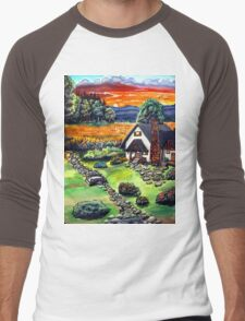 a cottage sunset Men's Baseball ¾ T-Shirt