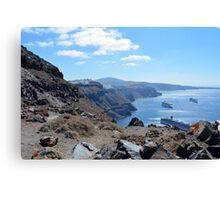 Panoramic view of bay in, Santorini, Greece Canvas Print