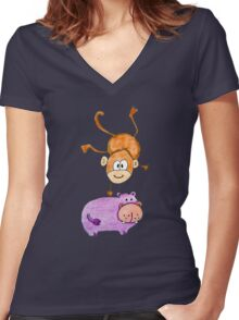 Acrobat animals: Monkey jumping on a hippo Women's Fitted V-Neck T-Shirt