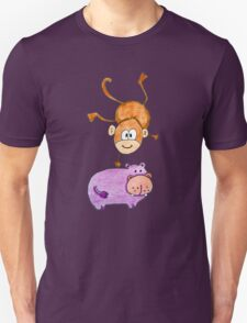 Acrobat animals: Monkey jumping on a hippo T-Shirt