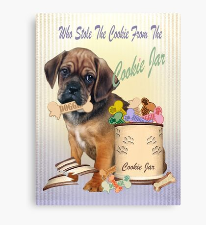 Puggle Stole Cookie From The Cookie Jar Canvas Print