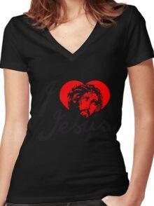 heart i love liebe herz gestorben sünden jesus king of kings spruch text logo design cool könig der könige heilig christus  Women's Fitted V-Neck T-Shirt
