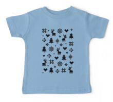 Pixel Pattern - Winter Forest - Black and White Baby Tee