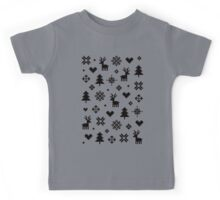 Pixel Pattern - Winter Forest - Black and White Kids Tee