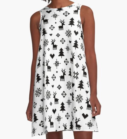 Pixel Pattern - Winter Forest - Black and White A-Line Dress