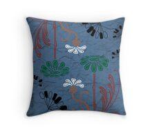Dark blue flower scribbles Throw Pillow