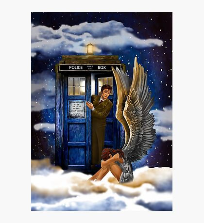 time and space traveller with Crying AngeL Photographic Print