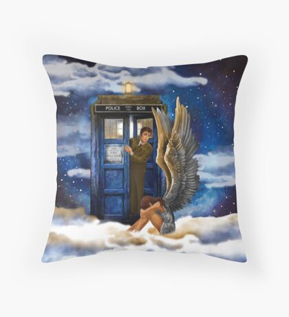 time and space traveller with Crying AngeL Throw Pillow