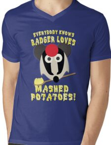 Everybody knows badger loves mashed potatoes! Mens V-Neck T-Shirt