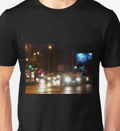 Abstract blurred image of a night scene with bright lights Unisex T-Shirt