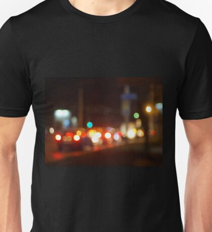 Abstract blur image of a night scene with bright lights Unisex T-Shirt