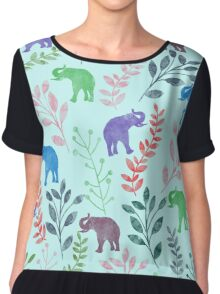 Floral and Elephant III Chiffon Top