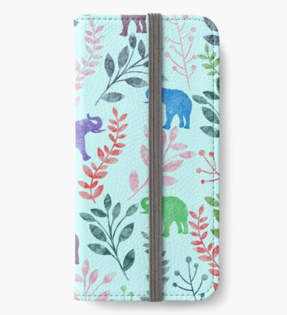 Floral and Elephant III iPhone Wallet/Case/Skin