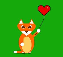 Fox with a pixel heart balloon by jaxxx